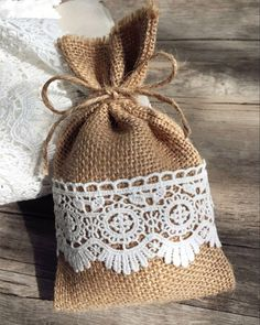 country themed lace and burlap wedding favor bags