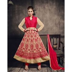 Beige and Pink Net Party Wear #Anarkali Suits- $43.58