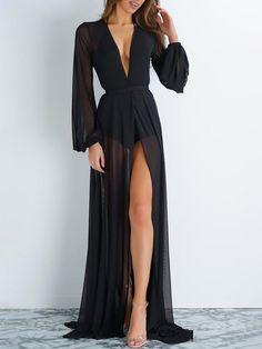 51e7b7f537 Sexy Long-Sleeved Waist Open Slit Maxi Dress in 2019