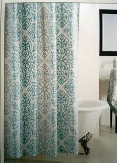 Cynthia Rowley AQUA TURQUOISE WHITE FABRIC SHOWER CURTAIN White