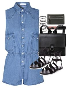 """Outfit with a denim play suit"" by ferned ❤ liked on Polyvore featuring Glamorous, NYX, Topshop, M.N.G and Monki"
