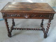 Victorian carved Oak and Barley twist library table desk