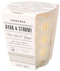 Paddywax Mixology Collection Poured Glass Candle, Dark/Stormy -