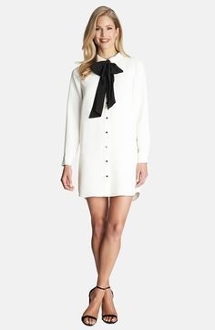 Free shipping and returns on CeCe by Cynthia Steffe Tie Neck Shirtdress at Nordstrom.com. Our latest schoolgirl crush: a simple straight-cut shirtdress of heavyweight crepe topped with a sweet black bow tied around a Peter Pan collar.