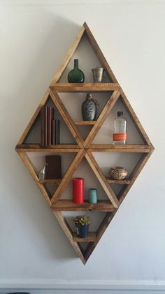 Large Diamond Wooden Shelves Large Diamond Wooden Shelves Large Diamond Wooden Shelf Unit Made Of 8 14 Triangles The Entire Configuration Is 54 Tall And 32 Wide Large Diamond Wooden Shelves Etsy Diy Wood Projects, Wood Crafts, Woodworking Projects, Woodworking Plans, Woodworking Beginner, Woodworking Organization, Woodworking Logo, Woodworking Joints, Wall Shelves Design