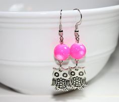 """Earrings - Handmade - Hot Pink Beads - Silver Owl Charms """"Knowing your Heart"""""""
