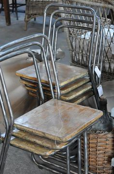 vintage steel and wood planked cafe chairs