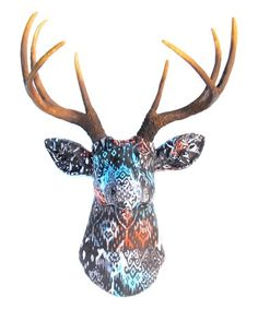 Look at this Orange & Teal Ikat Stag Bust Wall Décor Textile Sculpture, Wall Décor, Picture Wall, Ikat, Deer, Moose Art, Walls, Orange, Pictures