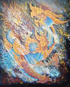 """ชื่อผลงาน : """"จินตนาการจากรูปทรงสัตว์หิมพานต์ 2 """"  ขนาด : 100x120 cm เทคนิค : acrylic on canvas  ปักษีสินธุ เขียนขึ้นเมื่อปี 2013 ในวิชา Individual Study ขณะศึกษาอยู่ที่ คณะศิลปกรรมศาสตร์ สาขาจิตรกรรม มหาวิทยาลัยบูรพา"""