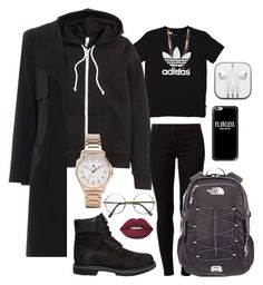"""""""everything black school outfit ; winter"""" by kingrabia on Polyvore featuring adidas Originals, H&M, Dorothy Perkins, Timberland, Tommy Hilfiger, The North Face, Casetify, Gorjana and Lime Crime"""