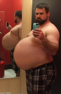 """keepembloated: """" dcgluttonhog: """"this is a belly that's been trained for huge capacity """" """"They weren't joking about the Sprite and bananas… it's still bubbling up in my belly. White Blonde Hair, Bear Men, Fat Man, Big Guys, Male Physique, Sexy, People, Greatest Hits, Bananas"""