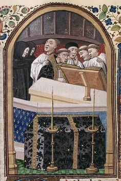 Detail of a miniature of monks singing a requiem