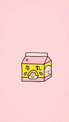 Pink and yellow milk cartoon drawing K Wallpaper, Kawaii Wallpaper, Pastel Wallpaper, Cartoon Wallpaper, Wallpaper Backgrounds, Phone Backgrounds, Japanese Illustration, Graphic Illustration, Illustrations