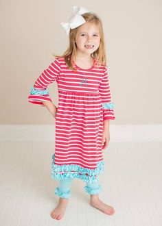 Girl's Coral Stripes with Aqua Ruffles Comfy Knit Tunic Dress and Leggings