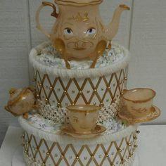 Set van 2 ivoor en goud Baby douche luier taarten Belle en