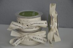 """Ivory linen #ribbon with a cute message. 3/4"""" x 30yards for $39.95. So cute on your #guestfavorgifts. Click www.favorsyoukeep.com/ribbon.html to see our collection of #specialtyribbons. Don't see what you want? Call us at 512.323.0600 -Austin, TX. Our 27th Year! Follow us on www.facebook.com/favorsyoukeep #weddingfavorribbon #uniquefavor #homemadeweddingfavors #cheapweddingfavors"""