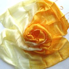 Yellow Handwoven Raw Silk Shawl Hand Dyed by PlanetEarthHandmade