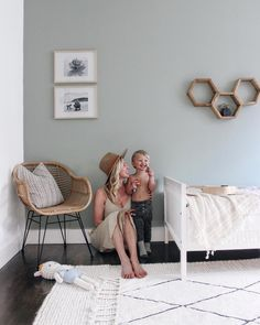 Someone looks happy with how his bedroom turned out. Here is a little reveal of Archer's room and our paint project in partnership with… Light Green Nursery, Light Green Bedrooms, Green Kids Rooms, Light Green Walls, Bedroom Green, Kids Room Lighting, Room Lights, Casa Kids, Nursery Bookshelf