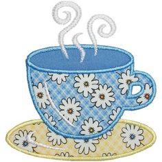 Teacup Applique (plus Teapot and Mug appliques)