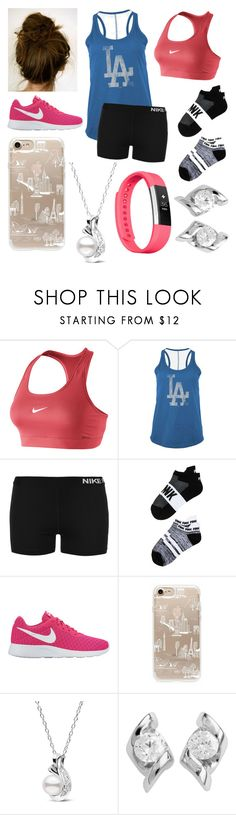 """""""Wild Workout"""" by ashleyannmcd ❤ liked on Polyvore featuring NIKE, 5th & Ocean, Victoria's Secret, Rifle Paper Co, Sirena Collection and Fitbit"""
