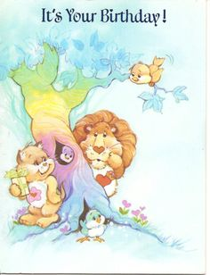 American Greetings Care Bear Cousins Brave Heart Lion & Proud Heart Cat - Happy Birthday