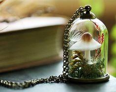 Amethyst crystal necklace crystal terrarium by RubyRobinBoutique Resin Jewelry Making, Diy Jewelry, Crystal Jewelry, Crystal Necklace, Perfect Capsule, Mushroom Decor, Terrarium Necklace, Miniature Bottles, Mystique