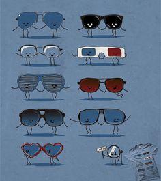 Estampa 'Everybody loves glasses!' no Camiseteria.com. Autoria de Juanito Legal (Mr. von Dunham) http://cami.st/d/55520