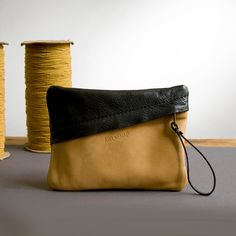 Leather Clutch in Caramel Tan and Black Leather with Wrist Strap; THE SPARK CLUTCH in Caramel and Black by Awl Snap