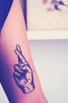 Crossed Fingers Tattoo On Arm