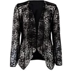Blue Vanilla Black Chiffon Lace Waterfall Blazer NewLook