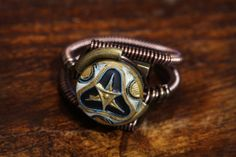 Steampunk Victorian Jewelry - Ring - Brass Painted Antique Button