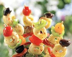Italian Tortellini Salad Kabobs Recipe - These tortellini kabobs are the perfect make ahead appetizer to get the gathering started. #Schwans #EasyRecipes #Inspiration