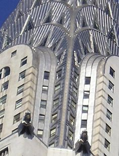 The Chrysler Building built between 1928 and 1930 New York stands 1,048 feet high with 77 floors.   Chrysler automobile radiator caps were an inspiration to the sculptures that decorate the lower setbacks and they also feature car wheel ornaments.  It was designed by William Van Alen and is a stylish example of Art Deco architecture