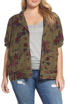 Lucky Brand Floral Print Military Jacket (Plus Size)