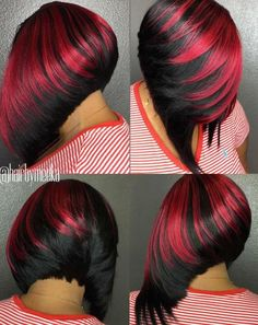 60 Showiest Bob Haircuts for Black Women Black-And-Red Angled Bob Weave Short Bob Hairstyles, Hairstyles Haircuts, Black Women Hairstyles, Weave Hairstyles, Cool Hairstyles, Bob Haircuts, African Hairstyles, Hairstyle Ideas, Sassy Haircuts