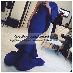 Cheap Gorgeous saudita vestido largo 2016 de un hombro sin mangas del satén del estiramiento Royal Blue Mermaid Prom vestidos, Compro Calidad Vestidos de Gala directamente de los surtidores de China: