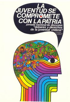 """The youth is committed to the motherland"" - Chile, 1971 Victor Jara, Post Contemporary, Political Posters, Image Macro, Vintage Ads, Graphic Prints, Popular, American Art, History"