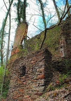 Old Mill Ruins, Roswell GA. These are the ruins of one of the textile mills from the Vickery Creek area of Roswell, where mills operated from 1845 to 1970.