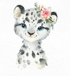 Watercolor small animals clipart baby white portrait arctic winter flower child child art baby-shower - Snowy Penguin Snow Leopard Polar Bear Watercolor little Bear Watercolor, Watercolor Animals, Baby Animal Drawings, Cute Drawings, Painting & Drawing, Watercolor Paintings, Watercolor Pictures, Art Mignon, Cute Animals