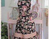 La Fleur Shabby Bib Apron Romantic Cottage Chic