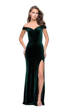 La Femme - 25400 Fold-Over Off Shoulder High Slit Velvet Gown Velvet Evening Gown, Velvet Gown, Formal Dresses For Women, Formal Gowns, Event Dresses, Prom Dresses, Long Dresses, Wedding Dresses, Velvet Bridesmaid Dresses