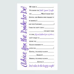 Bridal Shower Advice Cards  Printable Game  by SalutCreative, $5.99