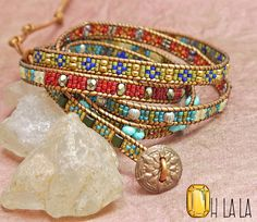 Leather Wrap Bracelet with Crystals and Beads on Tan Leather with Bronze Button