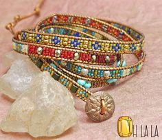 Abrigo de cuero pulsera con cristales y perlas por OhlalaJewelry