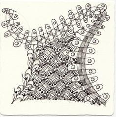 Ein Zentangle aus den Mustern Ooples, Lilys Valentine, Jumu,  gezeichnet von Ela Rieger, CZT