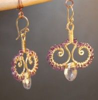 """Hammered swirl drops wrapped with amethyst and blue topaz, about 1-3/4"""" long.   Available in 14k gold filled & sterling silver"""
