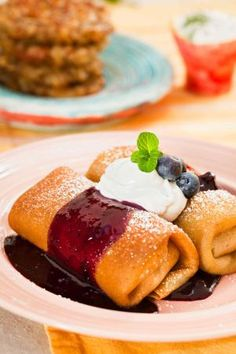 Vegan Blueberry Blintzes to serve at your next Hanukkah party along with latkes and vegan sour cream | Reform Judaism