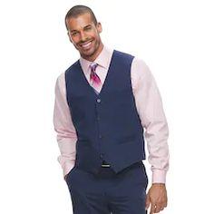 Never settle for ordinary. This men's Savile Row suit vest makes sophisticated cool a reality with its unique styling. Blue Suit Vest, Blue Pants Outfit, Navy Blue Vest, Grey Suit Men, Blue Vests, Mens Suits, Homecoming Outfits For Guys, Navy Blue Tuxedos, Savile Row
