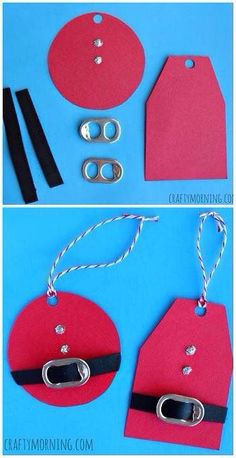 Christmas Crafts - DIY Santa Clause Gift Tags Using Soda Can Tabs! Cheap Christmas craft for kids t. Christmas Gift Tags, Christmas Crafts For Kids, Christmas Wrapping, Homemade Christmas, Christmas Projects, Winter Christmas, Holiday Crafts, Holiday Fun, Christmas Decorations