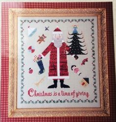St Nicholas Christmas Cross Stitch Kit 28 Ct Linen Sampler Threads Santa BOAF #BirdsOfAFeather #Frame